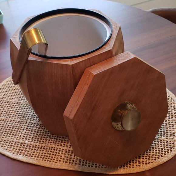 Mid Century Octagon Wood Veneer Ice Bucket